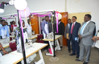 Hon'ble Minister for Agriculture, Irrigation & Water Development, Dr. George Chaponda inspecting the Apparel Training Centre set up under the Cotton Technical Assistance Programme in Zomba, Malawi. The centre was handed over to Government of Malawi on 15.09.2016 at the Makoka Research Centre, Zomba District Malawi by Mr. Suresh Kumar Menon, High Commissioner of India to Malawi.