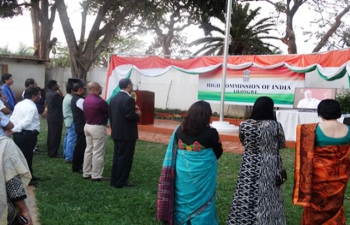 NRI and Indian Diaspora Community leaders listening to the address by Hon'ble Prime Minister Shri Narendra Modi while inaugurating Pravasi Bhartiya Kendra on 2 October 2016, during the Gandhi Jayanthi celebration held at Lilongwe