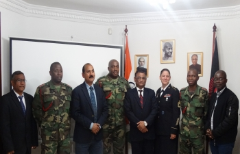 The High Commission of India, Lilongwe hosted the three Malawi Defence Officers  Major Chikondi Chalira, Captain Overton Gondwe and Captain Kissa Kadaluka nominated by the Republic of Malawi to attend a three week Training Programme being organized by the Centre for United Nations Peacekeeping (CUNPK) Course for African Partners on July 13, 2017.   The training is to be held in New Delhi from 17 July to 04 August, 2017.  The  programme is being organised in coordination with the United States Global Peace Operation Peace Initiative (GPOI). Mr. Kalezi Zimba, Military Programms Manager and Ms. Katrina Washington, OSC Operations   represented the United States Embassy in Lilongwe as the programme is being organised in coordination with the United States Government in India.
