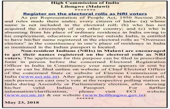 Register on the electoral rolls as NRI Voters