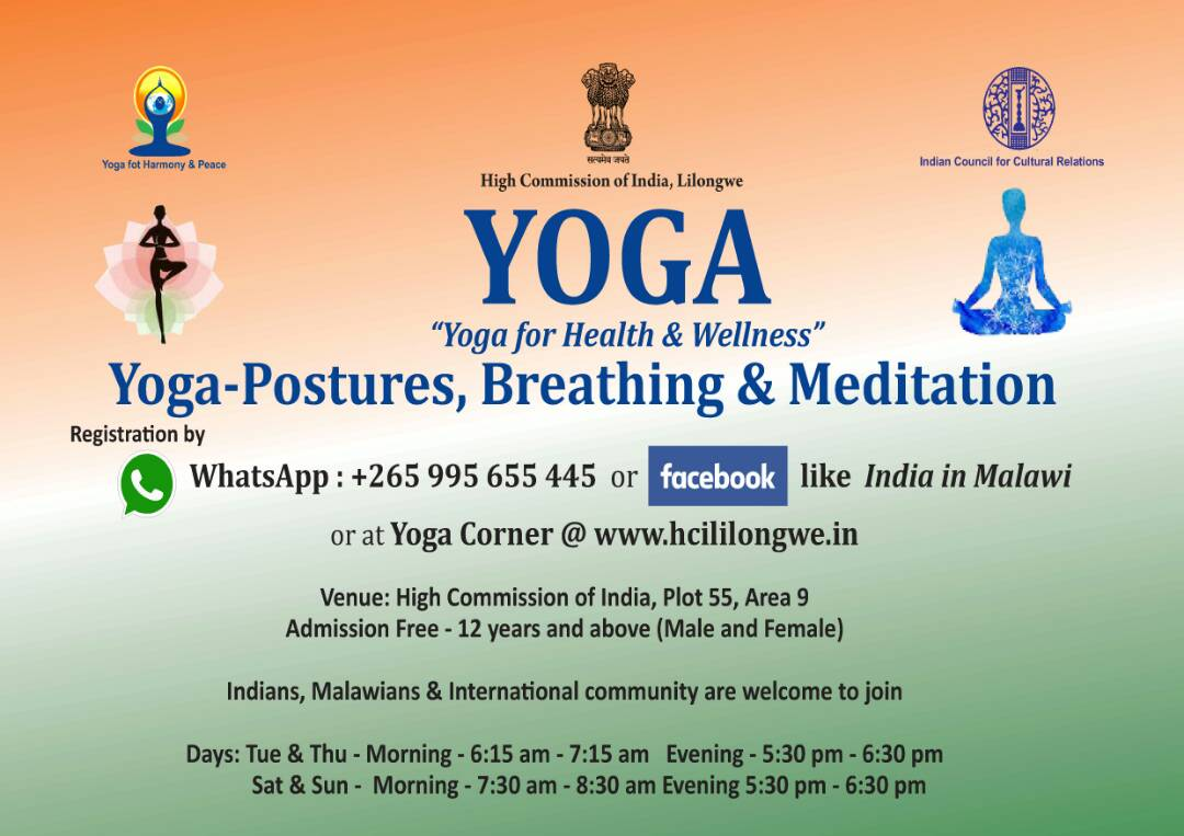 High Commission of India, Lilongwe, Malawi : Yoga Calendar