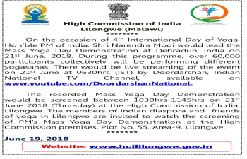 Screening of Mass Yoga Day Demonstration on 21 June 2018