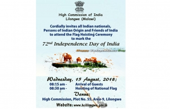 Invitation to attend the Flag Hoisting Ceremony on 15 August 2018