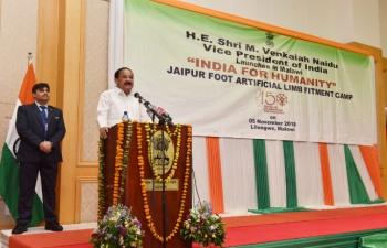 "Hon. Vice President of India Shri M. Venkaiah Naidu inaugurates first Jaipur Foot Camp under ""India for Humanity"" initiative in Malawi on 05 November 2018"