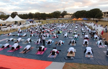 5th International Day of Yoga was celebrated with enthusiasm on 23 June 2019 at Indian Country Club, Lilongwe. Around 250 yoga lovers of various nationalities took part in yoga demonstrations and followed Common Yoga Protocol in the event. Director (International Cooperation), Ministry of Foreign Affairs and International Cooperation, Government of Malawi, represented Minister of Foreign Affairs with his message. Dignitaries from Malawi Government, UN Representative, senior diplomats from other Embassies and eminent personalities from the community attended the event. A Curtain raiser to the 5th International Day of Yoga was also organized at Indian Sports Club in Limbe, Blantyre on 16 June 2019.