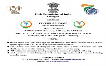 Consular Camp in Blantyre from 19-20 September, 2020