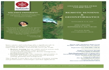 Nalanda University -  15 Days Online Short Term Course on Remote Sensing & Genoinformatics between September 16-30, 2020.