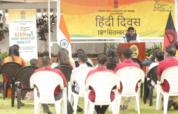 High Commission of India celebrated Hindi Diwas 2021 on 18 September 2021 at the Chancery premises. The event was organized to promote Hindi and to create interest in Hindi language. Members of Indian diaspora, Indians living in Malawi and families of the High Commission officials took part in the event. On the occasion, competitions such as Hindi Poetry Recitation, Hindi Essay writing, etc. for both children and adults, were organized.